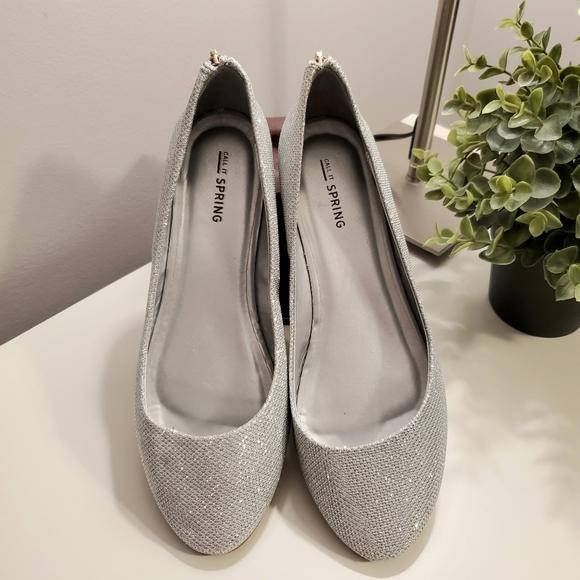 💎2x$20 silver sparkly ballet flats